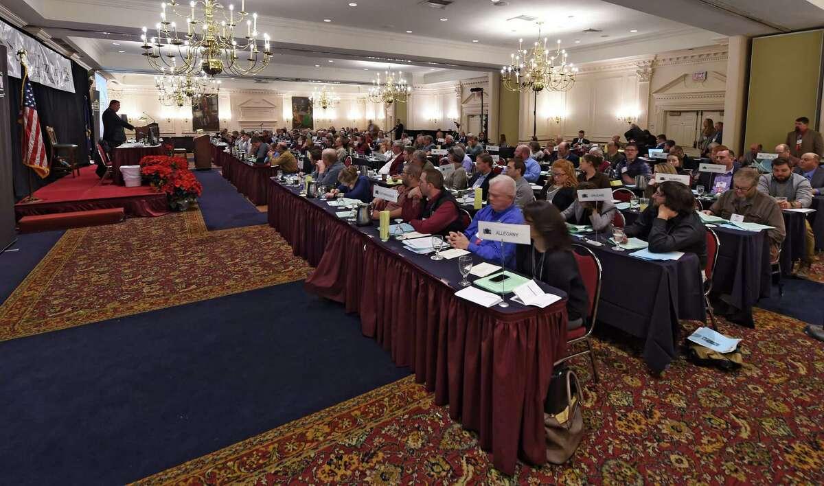 President Dean Norton addresses a general session of the New York Farm Bureau at the Desmond Hotel Tuesday Dec. 6, 2016 In Colonie, N.Y. (Skip Dickstein/Times Union)