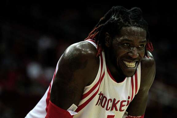 Houston Rockets forward Montrezl Harrell (5) smiles at heckling fans in the fourth quarter against New York Knicks. Rockets won the game 130-103.