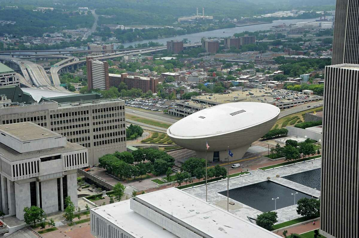 Aerial view from the Alfred E. Smith State Office Building of The Egg and part of the Empire State Plaza on June 28, 2016 in Albany, N.Y. (Lori Van Buren / Times Union)