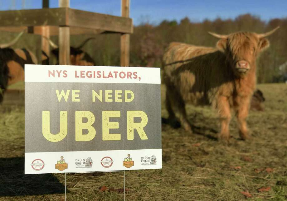 "Capital Region restaurant owner Matt Baumgartner has spent $1,000 on ""We Went Uber"" signs like this one, shown at his farm in Averill Park. The signs are popping up around the reigon. (Contributed photo.)"