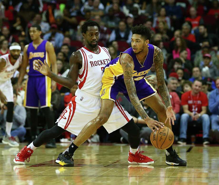 Houston Rockets guard Patrick Beverley (2) guards Los Angeles Lakers forward Brandon Ingram (14) during the second quarter of an NBA game at the Toyota Center, Wednesday, Dec. 7, 2016, in Houston. Photo: Jon Shapley, Houston Chronicle / © 2015  Houston Chronicle