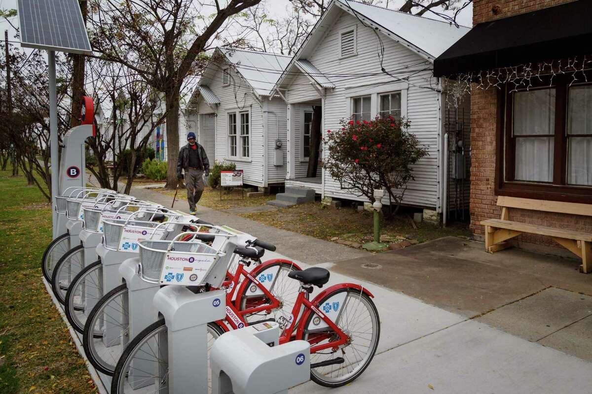 Bikes wait for riders at the B-Cycle kiosk near the Project Row Houses in the 3rd Ward. The kiosks there consistently underperform others in the city.