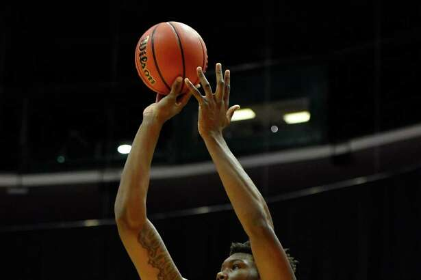 ANAHEIM, CA - NOVEMBER 27:  Robert Williams #44 of the Texas A&M Aggies makes a jump shot against the UCLA Bruins during the championship game of the Wooden Legacy at Honda Center on November 27, 2016 in Anaheim, California.