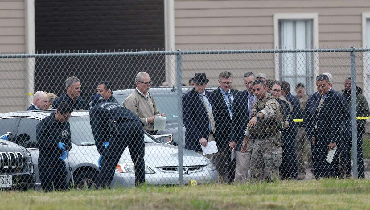 Houston Police investigate a fatal shooting that erupted during an undercover operation in far north Houston that targeted armored car heists. One attacker died in a shootout and four others were arrested.