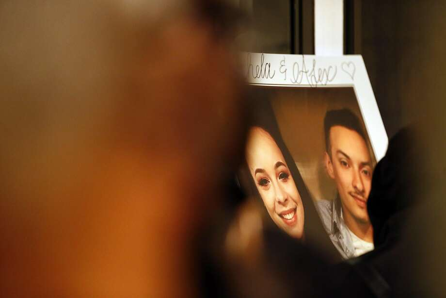 A portrait of Alex Vega and Michela Gregory at Vega's family home during a memorial for the young couple in San Bruno on Dec. 7. Photo: Carlos Avila Gonzalez, The Chronicle