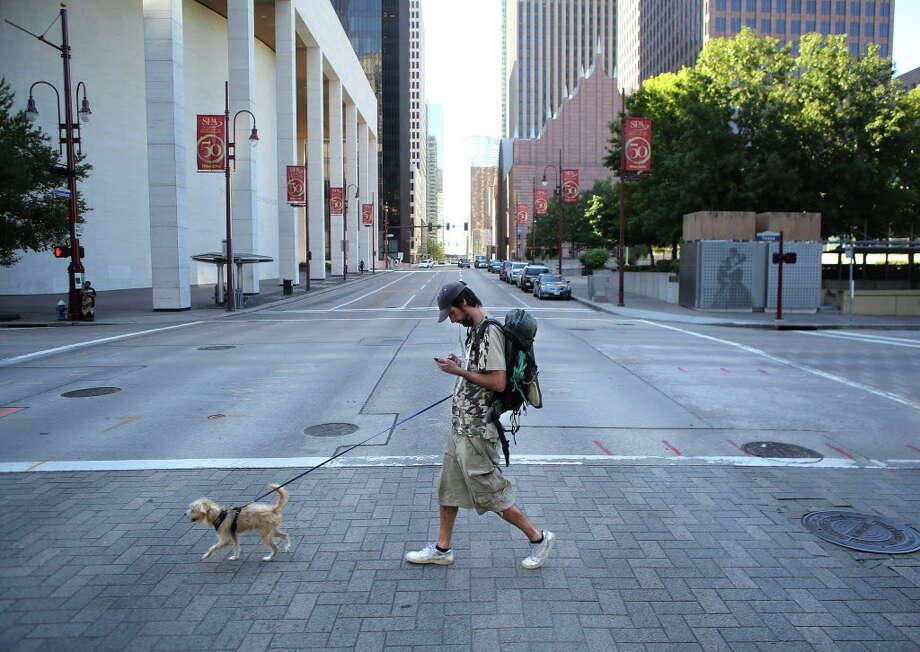 Downtown, Franklin marked every bush. Photo: Mark Mulligan, Houston Chronicle / © 2016 Houston Chronicle