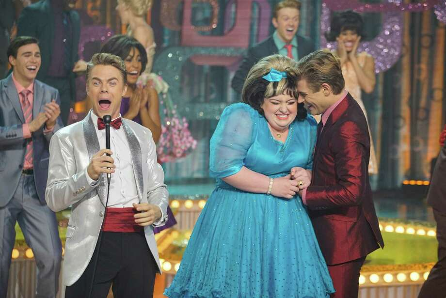 "Derek Hough as Corny Collins, Maddie Baillio as Tracy Turnblad, Garrett Clayton as Link Larkin in NBC's ""Hairspray Live!"" Photo: Paul Drinkwater/NBC / 2016 NBCUniversal Media, LLC"