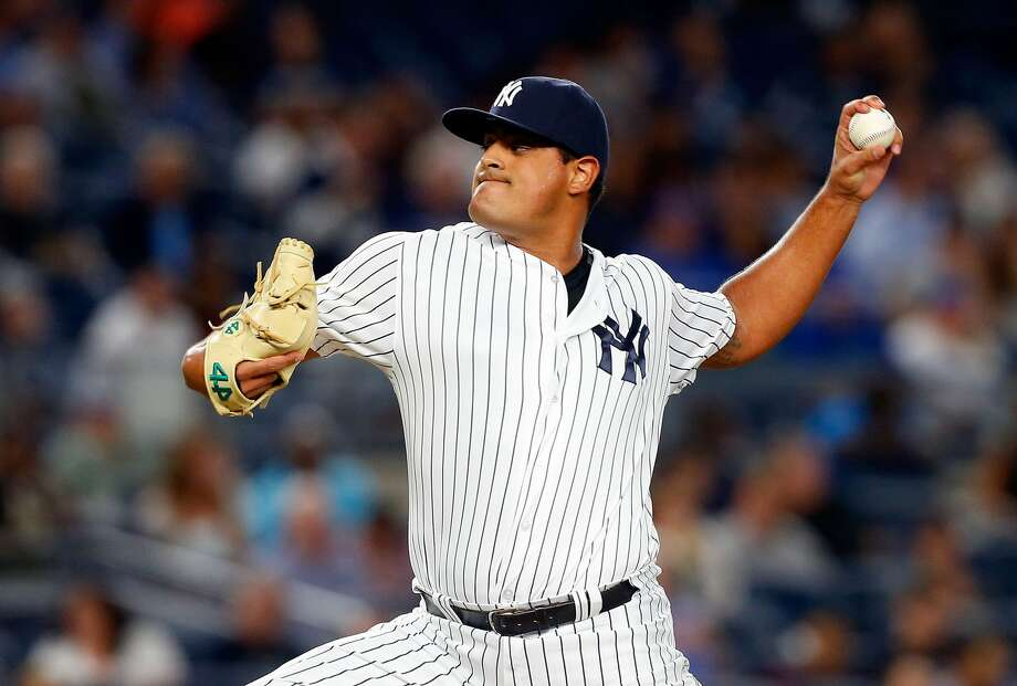 NEW YORK, NY - SEPTEMBER 06:  James Pazos #67 of the New York Yankees in action against the Toronto Blue Jays at Yankee Stadium on September 6, 2016 in the Bronx borough of New York City. The Yankees defeated the Jays 7-6.  (Photo by Jim McIsaac/Getty Images) Photo: Jim McIsaac/Getty Images