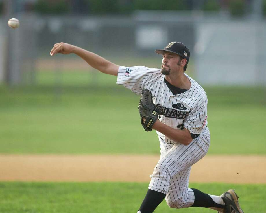 Righthander Mike Hauschild started for the Westerners against Bristol in the first game of the best-of-three NECBL playoff series Monday night at Rogers Park. Photo: Barry Horn, ST / The News-Times Freelance
