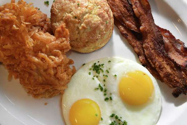 The full breakfast, eggs, hash browns, bacon and a biscuit at Gracie's Luncheonette on Main Street Wednesday Nov. 30, 2016 in Leeds, NY.  (John Carl D'Annibale / Times Union)