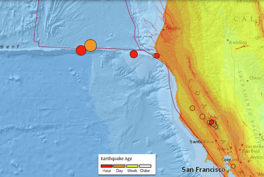 A 6.5 magnitude earthquake off the coast of California on December 8th, 2016, followed aftershocks of 5.2 and 4.9. Photo: USGS