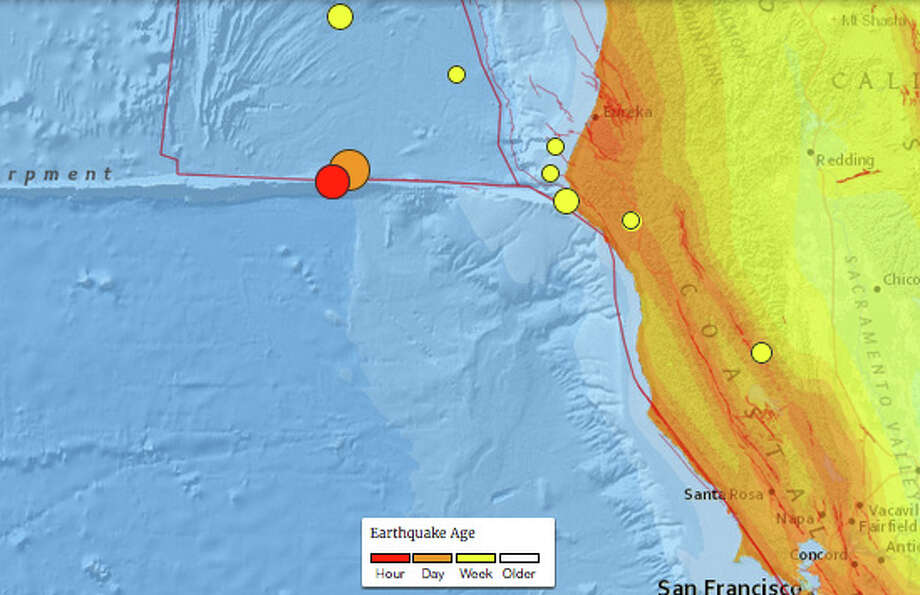 A 6.5-magnitude earthquake struck off the coast of Northern California on Dec. 8, 2016, followed by an 5.0 aftershock. Photo: USGS