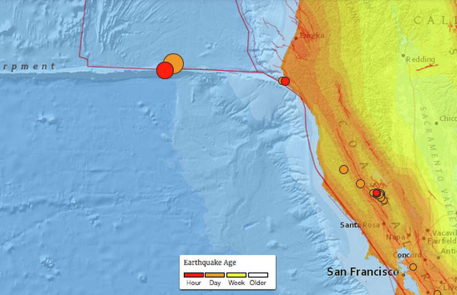 A 6.5 magnitude earthquake off the coast of California on December 8th, 2016, followed an 5.0 aftershock. Photo: USGS