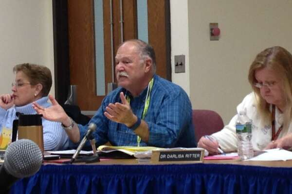 Shelton School Board member Dave Gioiellomakes a point during a special meeting of the board to discuss the budget