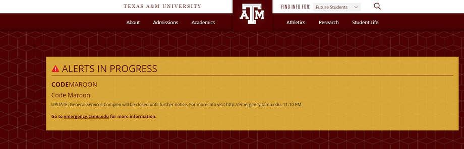 Texas A&M University issued an alert Thursday morning.