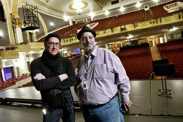 Creative Director Richard Lovrich, left, and Publicist Michael Eck on the stage on Wednesday, Nov 30, 2016, at Proctors in Schenectady, N.Y. (Cindy Schultz / Times Union)