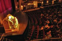 """Bob Frederick of Schenectady, 79, plays """"Goldie"""", a 1931 Wurlitzer theater pipe organ, during a free MVP Gold Noontime Concert Series concert at Proctor's Theatre in Schenectady, NY Tuesday  May 22, 2007. The organ was originally used in the Paramount Theater in Aurora, Illinois. The original organ used in Proctor's (from 1929) was there until 1957. (Philip Kamrass/Times Union archive)"""