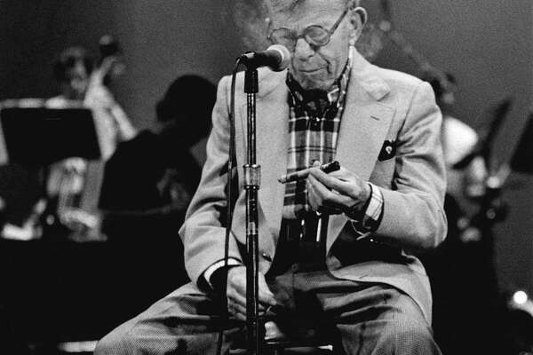 George Burns rehearses on stage of Proctor's Theatre on Oct. 6, 1990, in Schenectady,  N.Y. (John Carl D'Annibale/Times Union archive)