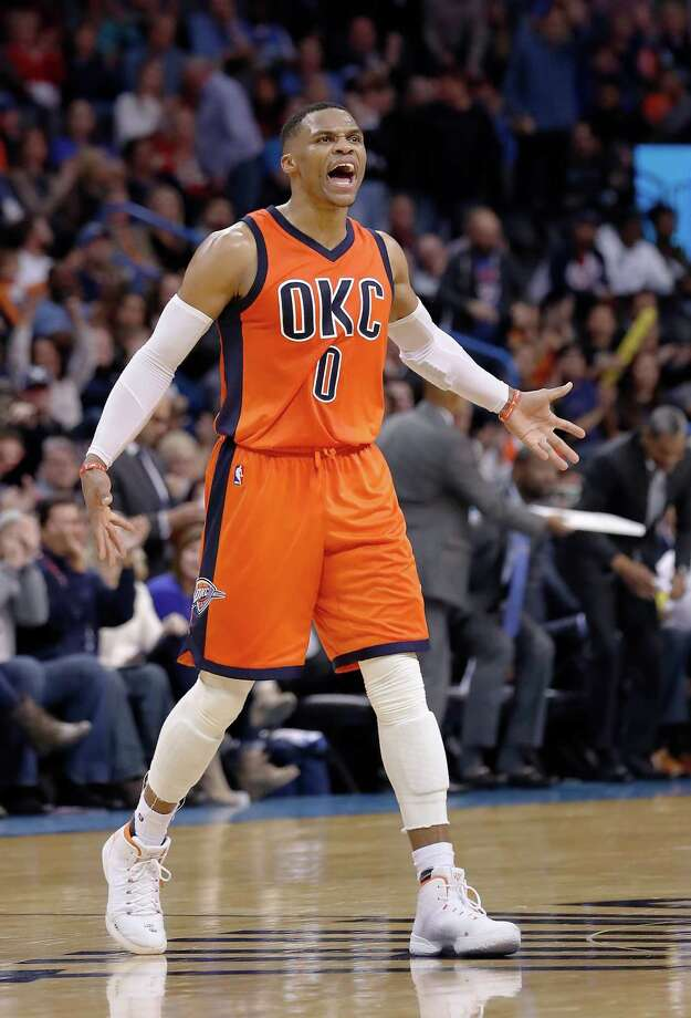 Oklahoma City Thunder guard Russell Westbrook (0) reacts after shooting a 3 point basket against the New Orleans Pelicans during the second half of an NBA basketball game in Oklahoma City, Sunday, Dec. 4, 2016. Oklahoma City won 101-92. (AP Photo/Alonzo Adams) Photo: Alonzo Adams, FRE / FR159426 AP