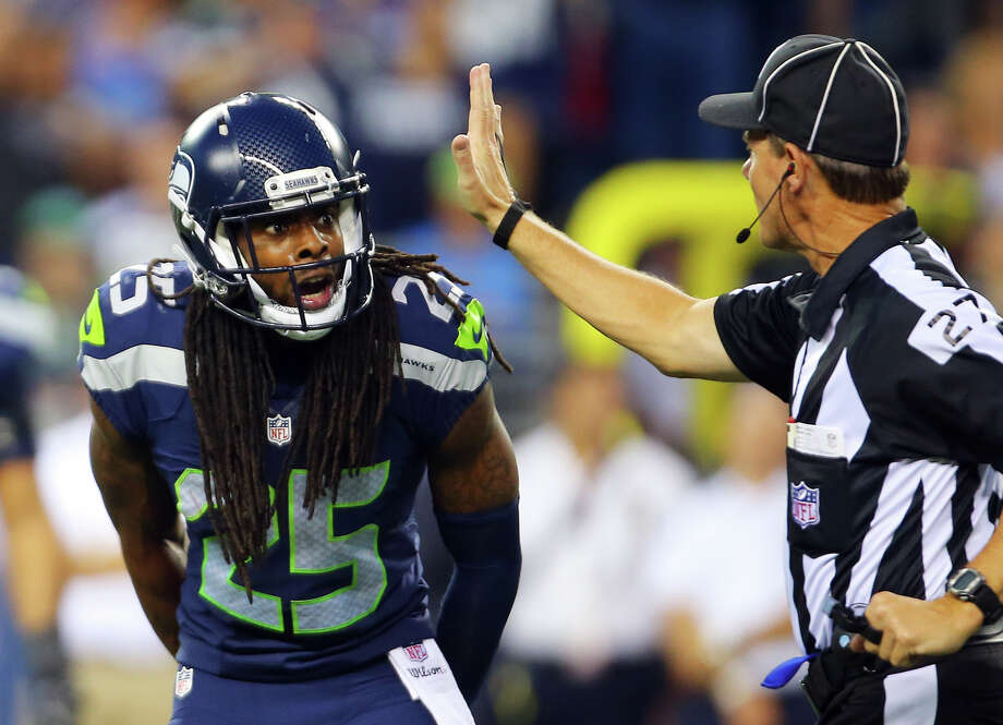 Seattle cornerback Richard Sherman argues an illegal contact call with the referee during the first half of the pre-season game between the Seahawks and the Dallas Cowboys, Thursday, Aug. 25, 2016 at CenturyLink Field. Seattle won 27-17.  (GENNA MARTIN, seattlepi.com) Photo: GENNA MARTIN/SEATTLEPI.COM