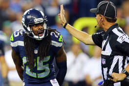 Seattle cornerback Richard Sherman argues an illegal contact call with the referee during the first half of the pre-season game between the Seahawks and the Dallas Cowboys, Thursday, Aug. 25, 2016 at CenturyLink Field. Seattle won 27-17.  (GENNA MARTIN, seattlepi.com)