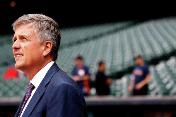Houston Astros Jeff Luhnow watches batting practice before the start of an MLB game at Minute Maid Park, Tuesday, May 13, 2014, in Houston. ( Karen Warren / Houston Chronicle  )