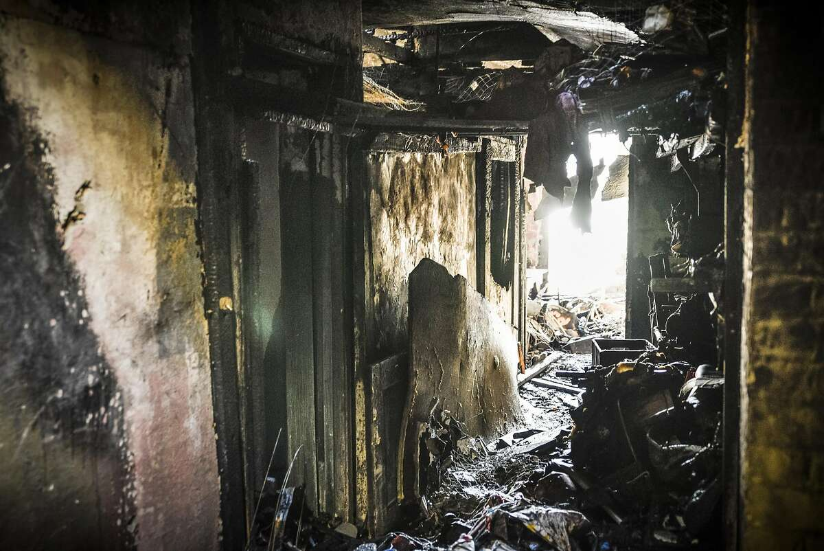 The interior of the Ghost Ship warehouse is seen after the Dec. 2 fire that killed 36 people in Oakland.