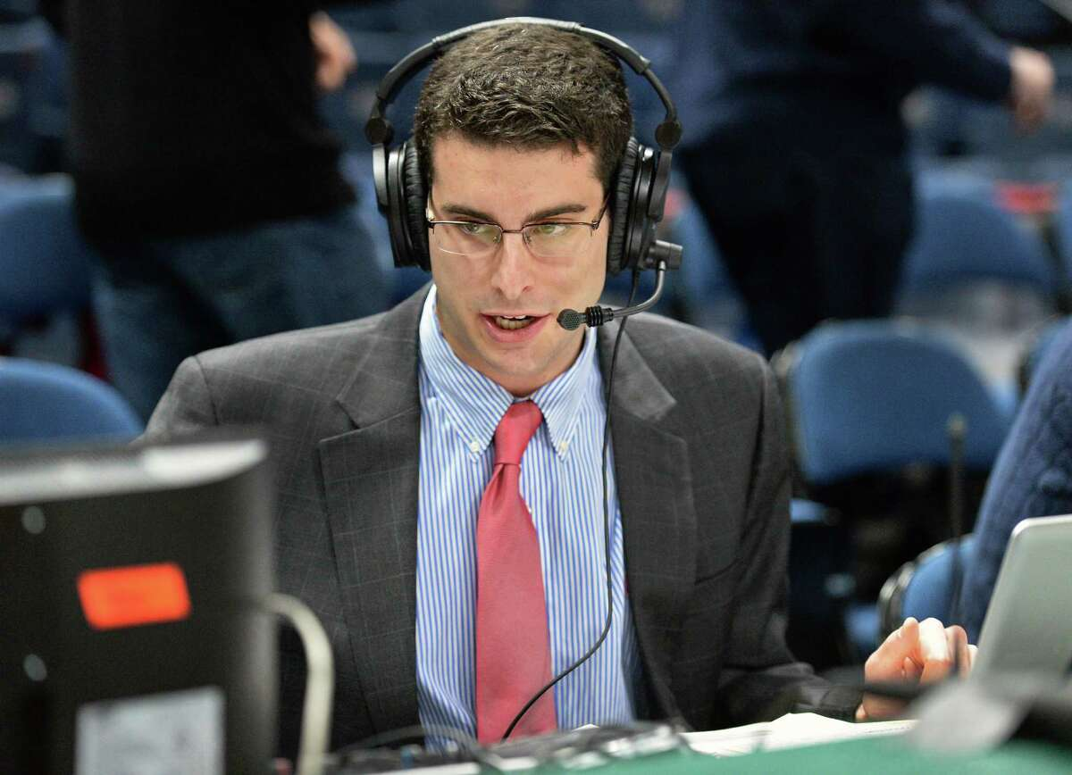 Siena radio's A.J. Kanell broadcasts the Siena-Fairfield game at Times Union Center on Dec. 3, 2016.