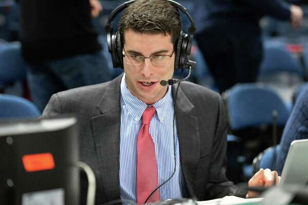Siena radio's A.J. Kanell broadcasts the Siena Fairfield game at the Times Union Center Dec. 3, 2016 in Albany, NY.  (John Carl D'Annibale / Times Union)