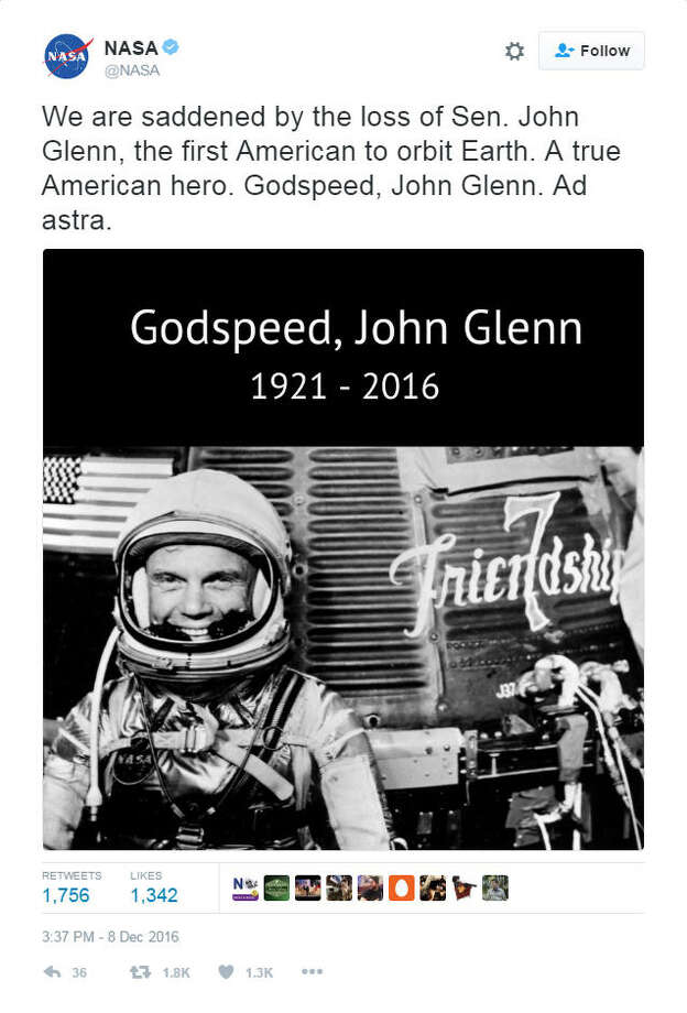 """We are saddened by the loss of Sen. John Glenn, the first American to orbit Earth. A true American hero. Godspeed, John Glenn. Ad astra."" - NASA Photo: File/Twitter"