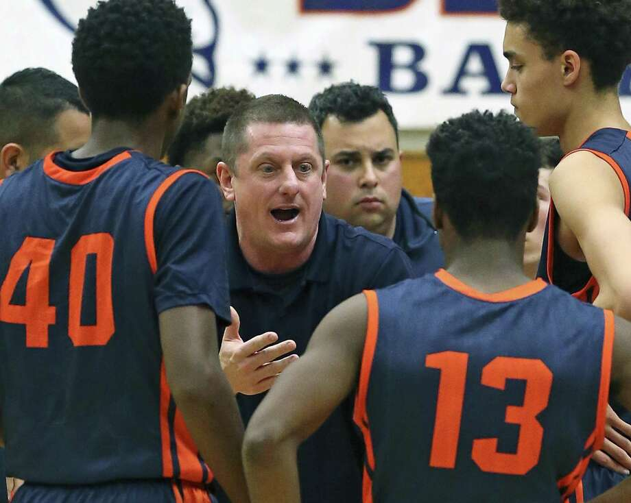 Brandeis coach Marc Gardner talks to his players during a game against O'Connor at Taylor Field House on Jan. 22, 2016. Photo: Tom Reel /San Antonio Express-News / 2016 SAN ANTONIO EXPRESS-NEWS