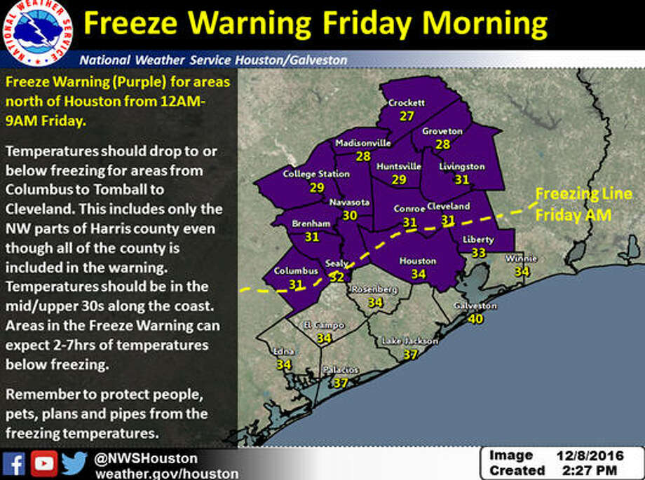The area in purple is under a freeze warning from midnight to 9 a.m. Friday, Dec. 9, 2016, and can expect two to seven hours of freezing temperatures. This includes only the northwest part of Harris County. (National Weather Service)