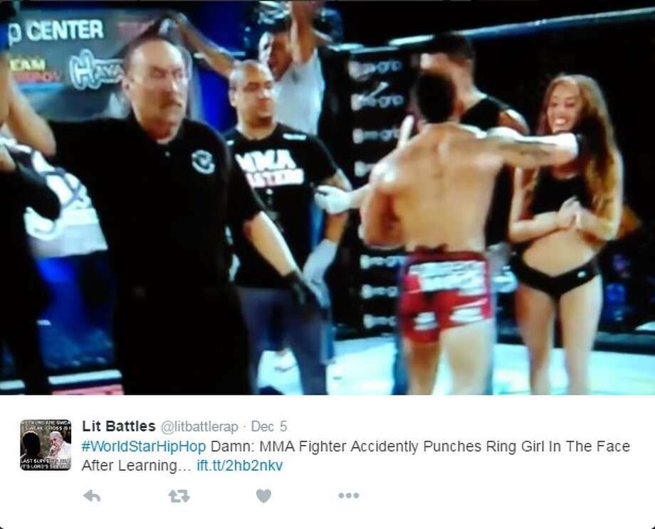 MMA fighter Andrew Whitney punched a ring girl in the face after judges ruled he lost his fight against Farkhad Sharipov. Image source: TwitterClick through the slideshow to check out MMA fighters in Houston. Photo: Twitter