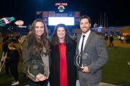 Natalie Coughlin, Amy Wender-Hoch and Jonny Moseley attend Wender Weis Foundation for Children's  Holiday Heroes 2016 December 5th 2016 at AT&T Park in San Francisco, CA (Photo - Devlin Shand for Drew Altizer Photography)