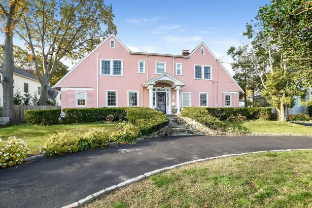 A big, pink colonial on Sea Beach Road in Shippan section of Stamford.