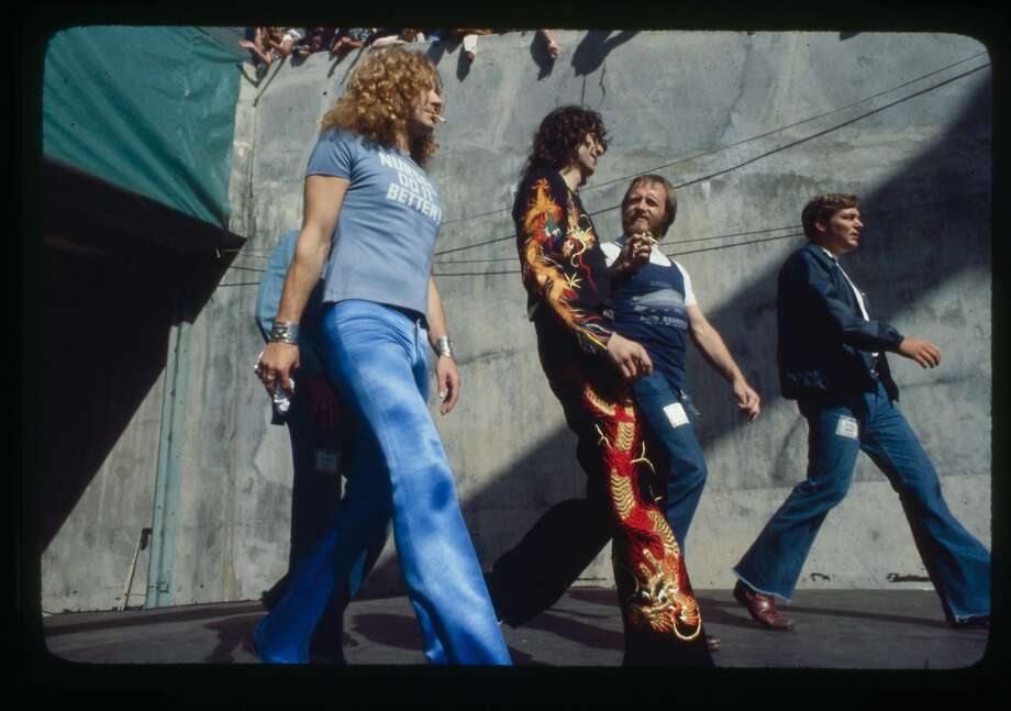 """Robert Plant, left, and Jimmy Page of Led ZeppelinLed Zeppelin taking the stage at the Day on the Green, July, 1977 from """"Total Excess"""" by Michael Zagaris Photo: Michael Zagaris"""