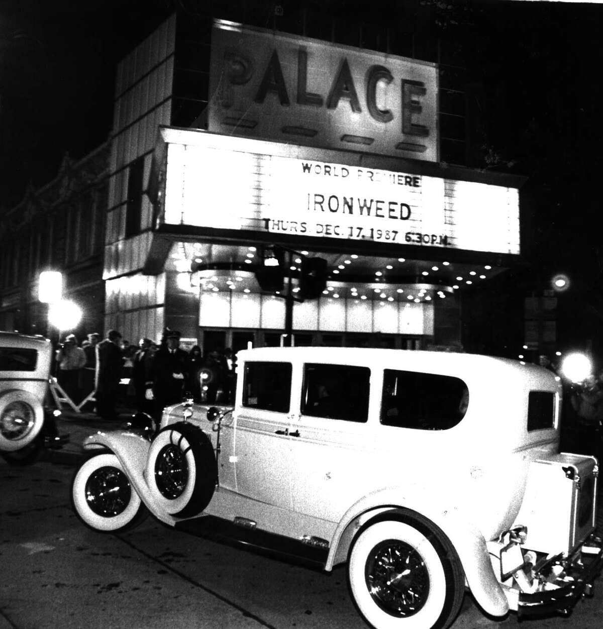 """Arriving in style at the """"Ironweed"""" premiere on Dec. 17, 1987. (Times Union archive)"""