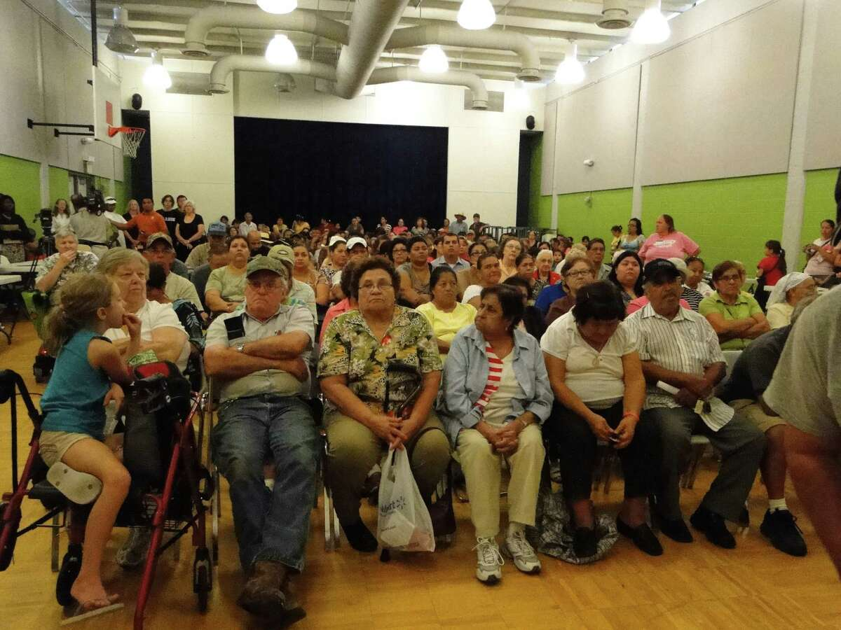 Pasadena residents packed a Pasadena community center in August 2012 for a public hearing on the impending end of the city's bus service.