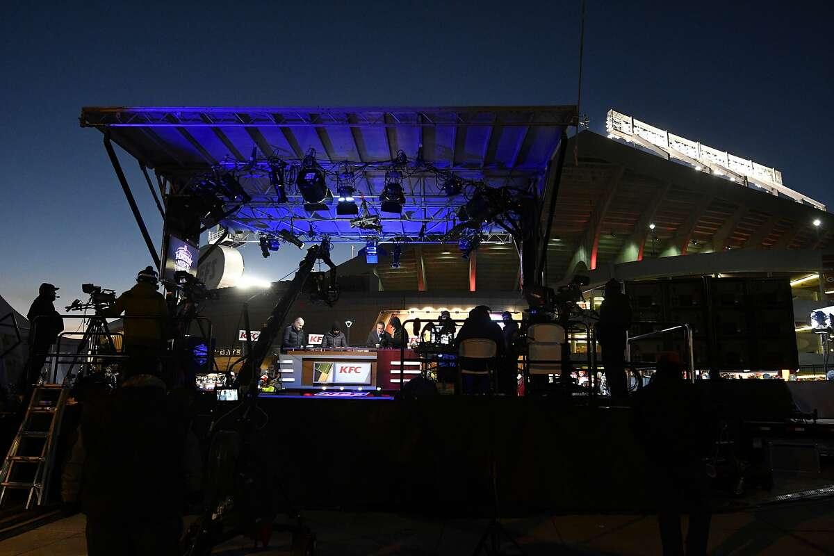 The Thursday Night Football set is located outside Arrowhead Stadium before an NFL football game between the Kansas City Chiefs and the Oakland Raiders, in Kansas City, Mo., Thursday, Dec. 8, 2016. (AP Photo/Ed Zurga)