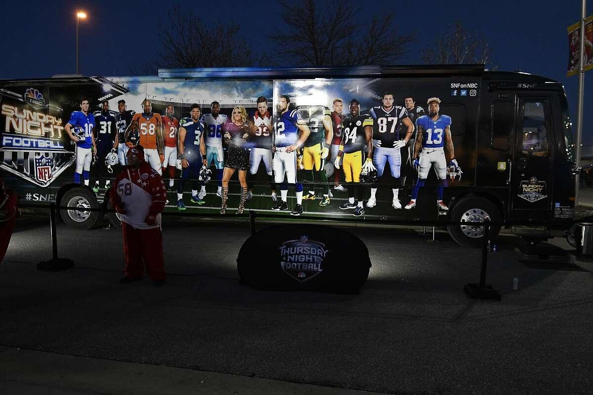 The Thursday Night Football trailer is parked outside Arrowhead Stadium before an NFL football game between the Kansas City Chiefs and the Oakland Raiders, in Kansas City, Mo., Thursday, Dec. 8, 2016. (AP Photo/Ed Zurga)