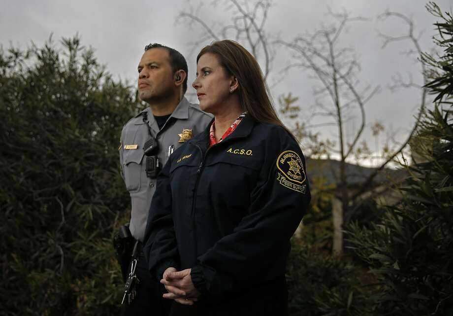 Sgt. Oscar Perez and Sgt. Lauren Tucker are members of the Alameda County peer support team and made many of the notifications to the families of those who perished in the massive Ghost Ship fire. They pose for a portrait in Castro Valley, California, on Thursday December 8, 2016. Photo: Michael Macor, The Chronicle