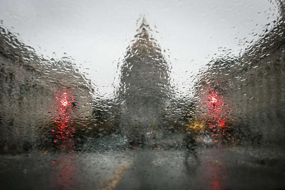 The Civic Center is seen through a rain covered window on Thursday, December 8, 2016 in San Francisco.
