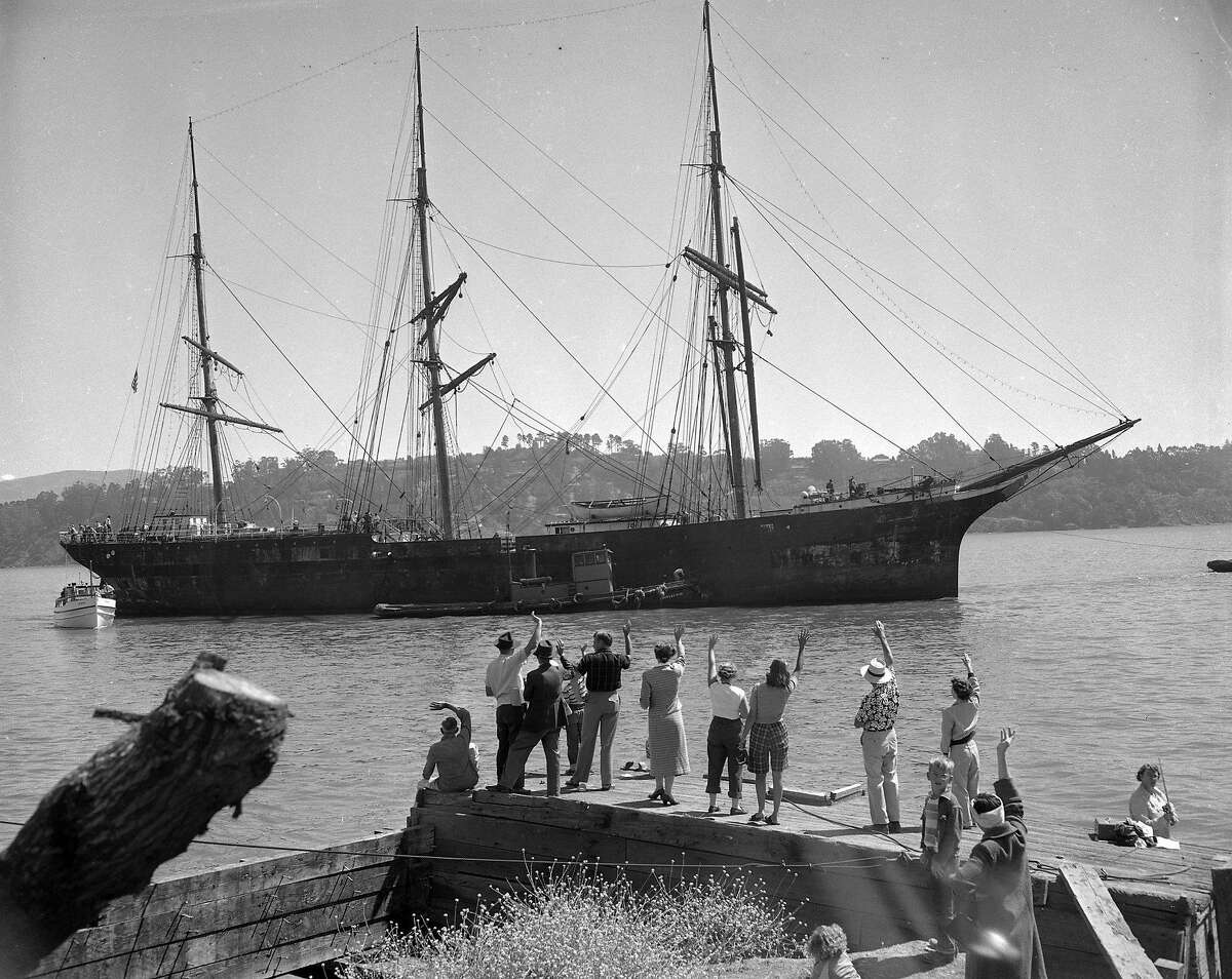 Balclutha (Pacific Queen) being towed from Sausalito, July 12, 1954, after being purchased by the San Francisco Maritime Museum