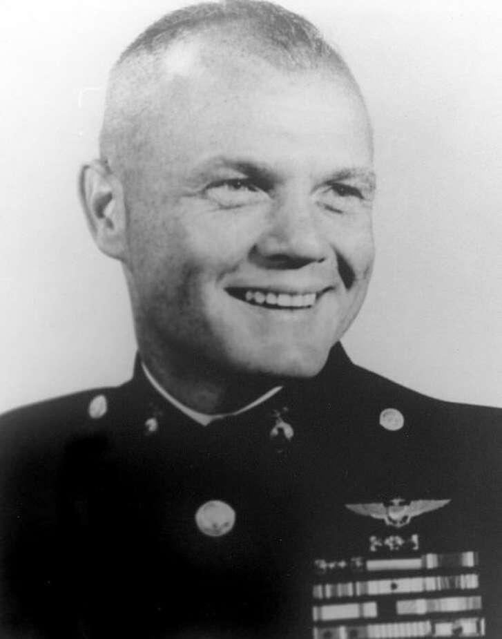 John Glenn, one of America's first astronauts, in the uniform of a U.S. Marine Corps aviator.
