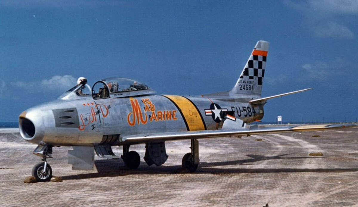 The F-86 Sabre John Glenn flew in Korea. He shot down three enemy MiG fighters during an exchange program with the U.S. Air Force.