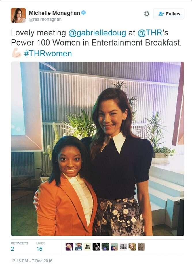 Actress Michelle Monaghan tweeted a photo of her and Simone Biles, but she referred to the Spring gymnast as Gabby Douglas.Click through the slideshow to learn more about gold medalist Biles.  Image source Twitter Photo: Twitter
