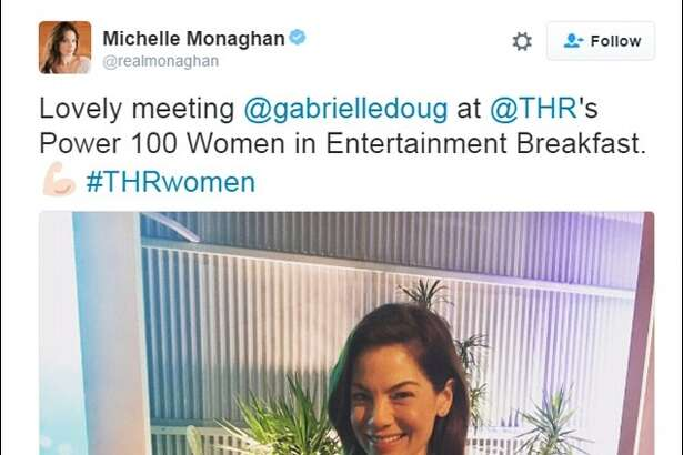 Actress Michelle Monaghan deleted her photo with Simone Biles after she learned she tagged Gabrielle Douglas instead of Biles.  