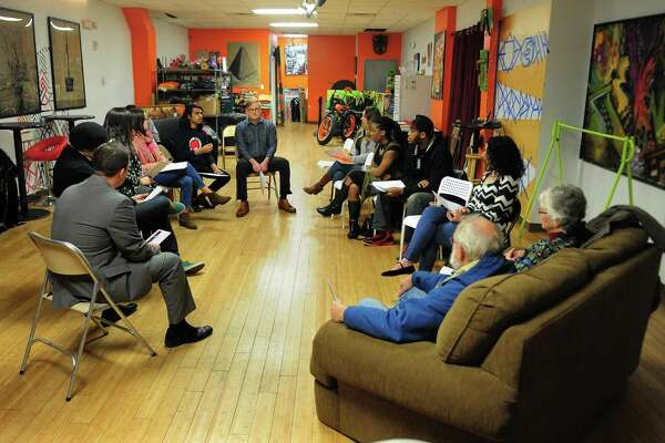 Working Families Party holds its first meeting for activists and members of the public at BPT Creates in Bridgeport, Conn. on Thursday Dec. 8, 2016. WFP has been hosting emergency organizing meetings all around the country, harnessing the anger and interest folks have in joining a resistance to Trumpism in their states.