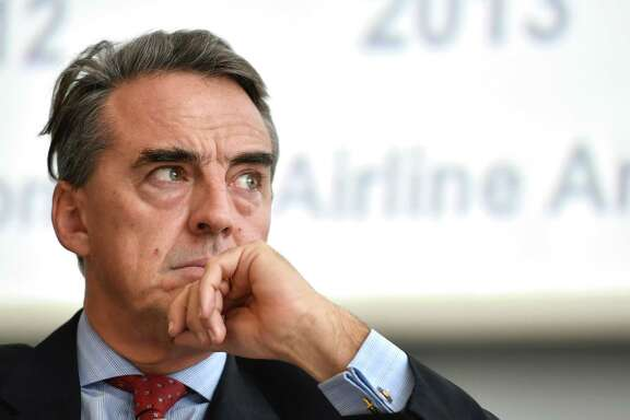 International Air Transport Association (IATA) Director General and CEO Alexandre de Juniac looks on during the IATA global media day on December 8, 2014 in Geneva. / AFP PHOTO / FABRICE COFFRINIFABRICE COFFRINI/AFP/Getty Images
