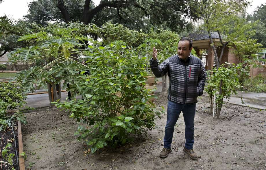 In this December file photo, Berman Rivera, from City Garten Landscape Design, gives a tour of the community garden located at the Laredo Senior Citizens Home. Photo: Victor Strife /Laredo Morning Times
